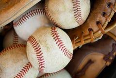 Baseballs and gloves-closeup royalty free stock images