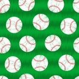 Baseballs on grass seamless pattern Stock Photo