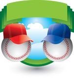 Baseballs with hats on green crest. Baseball with caps on green crest Royalty Free Stock Image