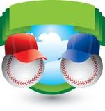 Baseballs met hoeden op groene kam Royalty-vrije Stock Afbeelding