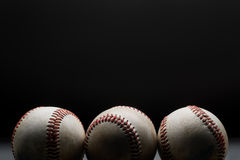 Baseballs. 3 Baseballs in a row Stock Images