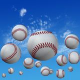 Baseballs set in High Cloud Sky. A group of baseballs set in a high cloud blue sky. Fly balls fly. Home runs. 3D illustration vector illustration
