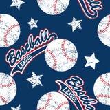 Baseballs and stars seamless pattern Stock Image