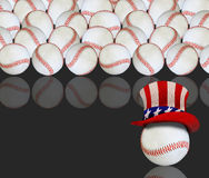 Baseballs and US flag hat Royalty Free Stock Photography