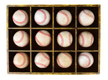 Baseballs in Wood Box Stock Photos