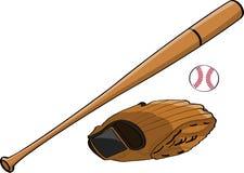 Baseballslagträ, handske och boll Arkivbilder