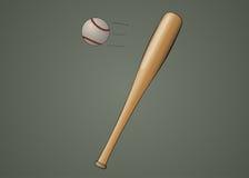 Baseballslagträ med bollen Royaltyfria Bilder