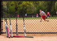Baseballslagträn och spelare. Arkivbild