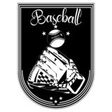 Baseballsportemblem, illustration för emblemmallvektor Royaltyfri Illustrationer