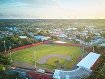 Baseballstadion i morgonljus Royaltyfri Bild