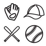 Baseballsymbolsuppsättning Vektor EPS 10 Arkivbild
