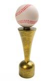 Baseballtrophäe lokalisiert auf weißem Hintergrund Stockbild