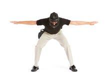 Basebol: Chamando o cofre forte do corredor imagens de stock