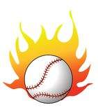 Basebol com vetor das flamas Foto de Stock Royalty Free