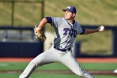 2015 basebol do NCAA - WVU-TCU Fotografia de Stock