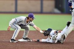 2015 basebol do NCAA - WVU-TCU Imagens de Stock Royalty Free