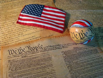 Basebol e bandeira da constituição Foto de Stock Royalty Free