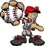 Basebol e bastão da terra arrendada do jogador de beisebol do miúdo Imagens de Stock