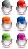 Basebol e bonés de beisebol Fotografia de Stock Royalty Free
