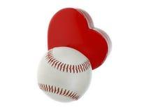 Basebol e coração Fotos de Stock Royalty Free