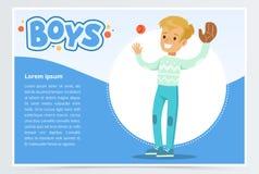 Basebol palying do menino com luva e bola, bandeira dos meninos para o folheto de propaganda, cartaz relativo à promoção do folhe ilustração royalty free