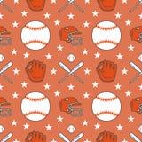 Basebol, teste padrão sem emenda do vetor do jogo do esporte do softball, fundo com linha ícones de bolas, jogador, luvas, bastão Fotografia de Stock