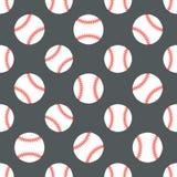 Basebol, teste padrão sem emenda do vetor do jogo do esporte do softball, fundo com linha ícones de bolas Sinais lineares para Imagens de Stock Royalty Free