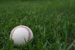 Basebol velho na grama verde Fotos de Stock Royalty Free