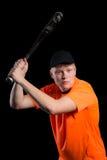 Basebollspelare som får klar att slå slagmannen Royaltyfri Fotografi