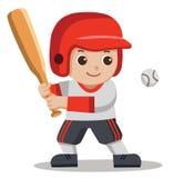 Basebollspelare som slår bollen med träslagträet stock illustrationer