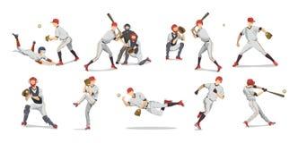Basebollspelareuppsättning stock illustrationer