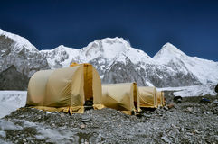 Basecamp on glacier in Kyrgyzstan Royalty Free Stock Photo