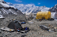 Basecamp on glacier in Kyrgyzstan Royalty Free Stock Image