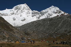 Basecamp in high mountains. Huandoy, Cordillera Blanca, Andes, Peru Royalty Free Stock Image