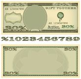 Based on the dollar banknote gift voucher. Royalty Free Stock Photos