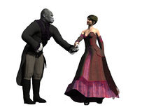 Beauty and the beast. Based on the fairytale a couple in period clothing she is beautiful and he is an ape bowing and extending his hand Royalty Free Stock Photos