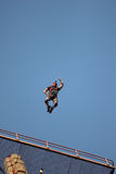 Basejumper. Jumps of antenna high up Stock Photo