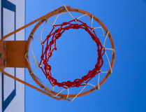 Baseketball hoop. Close-up of basketball rim and net stock photography