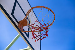 Baseketball hoop. Close-up of basketball rim and net royalty free stock photos