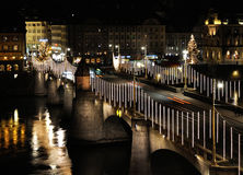 Basel bridge by night. View of Basel bridge by night in Christmas period Royalty Free Stock Photo