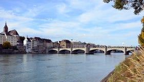 Basel - Bridge, Mittlerebrücke, Rhein Stock Image