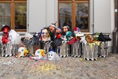 Basel carnival 2019 masks and snare drums stock images