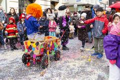 Basel carnival 2019 parade with confetti royalty free stock photography