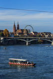 Basel Cathedral and Ferris Wheel Royalty Free Stock Images