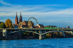 Basel Cathedral and Ferris Wheel Stock Images