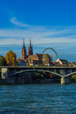 Basel Cathedral and Ferris Wheel Stock Photos