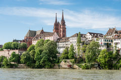 Basel Cathedral. View up to the cityscape of Basel with its famous red sandstone cathedral Stock Photos