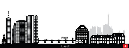 Basel city skyline Royalty Free Stock Photo