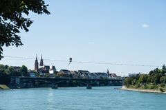 Basel city view from rhine river looking at centre Royalty Free Stock Images
