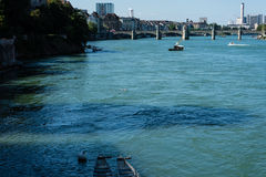 Basel city view from rhine river looking at centre Royalty Free Stock Photography